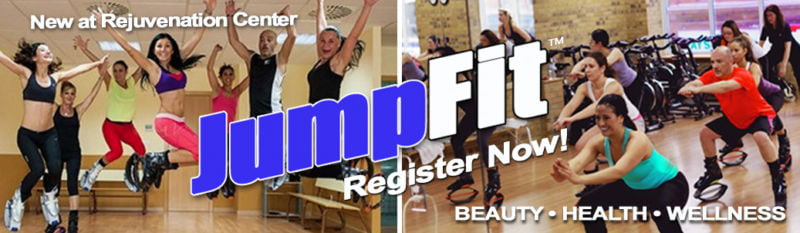 """Background: Images of participants in a JumpFit class in Kangoo shoes. Overlay: Text """"New at Rejuvenation Center. JumpFit™ Register Now! Beauty - Health - Wellness"""""""